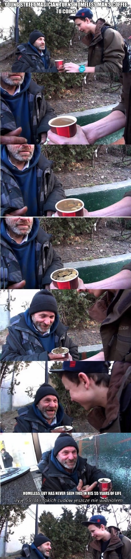 homeless man coins