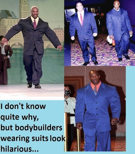 body builders in suits